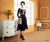 Black Color Pure Bamberg Georgette Kurti Dress