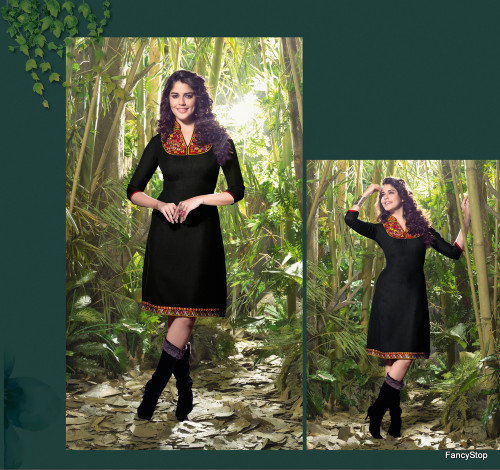 Elegant Fusion Black color Lilen Kurti