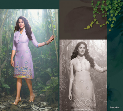 Elegant Fusion Light Purple color Lilen Kurti