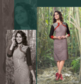 Elegant Fusion Black, White & Red color Lilen Kurti