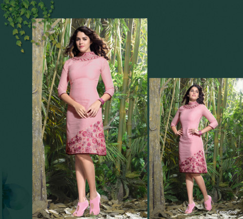 Elegant Fusion Dusty Pink color Lilen Kurti