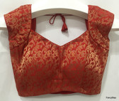 Premium Ready-Made Padded Saree Blouse Choli Red Brocade