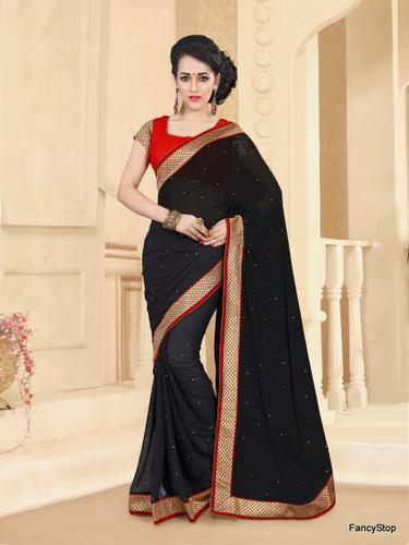 Beautifully Casual Black Color Pure Georgette Saree