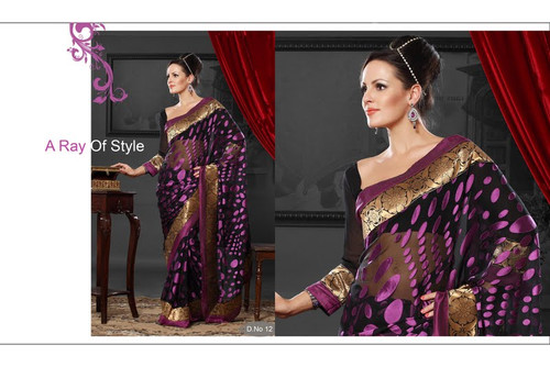 Cocktail Party Designer Saree Black Purple Dots