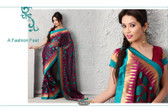 Cocktail Party Designer Saree Purple Green Dots