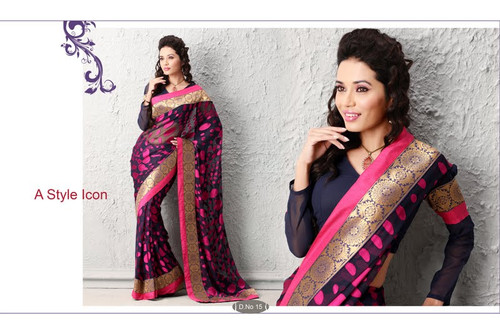 Cocktail Party Designer Saree Black Pink Dots