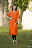Beautiful & Elegant Dark Orange Color Georgette Kurti