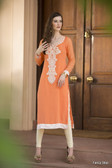 Beautiful & Elegant Orange Color Georgette Kurti
