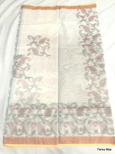 Designer White & Golden Pocham Palli Handwoven Silk Saree