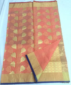 Gorgeous Dark Peach & Golden Kora Cotton Silk Saree
