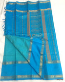 Elegant Blue Color Pure South Silk Saree With Golden Border