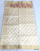 Beautiful Off White Katan Korial Banarasi Saree With Zari Thread Work