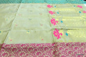 Pure kanchipuram silk saree White & Golden  handweaved & border silk thread weaved