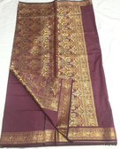 Beautiful & Simple Brown Color Light Weight Banarasi Saree