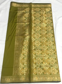 Simple & Elegant Olive Green Color Light Weight Banarasi Saree