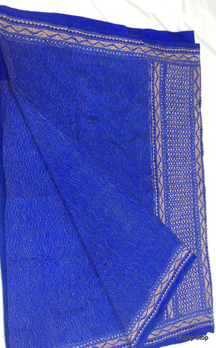 Exclusive Boutique Handwoven Dark Blue Color Katha Stitch Pure Silk Saree