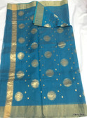 Elegant Blue Color Chandari Silk Saree With Gold Border