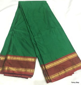 Simple & Elegant Dark Green Color Pure South Silk Saree With Maroon Color Contrast Border