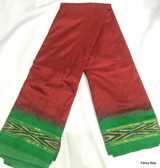 Simple & Elegant Dark Red Color Pure South Silk Saree With Green Color Wide Contrast Border