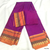 Simple & Elegant Violet Color Pure South Silk Saree With Multi Color Wide Border