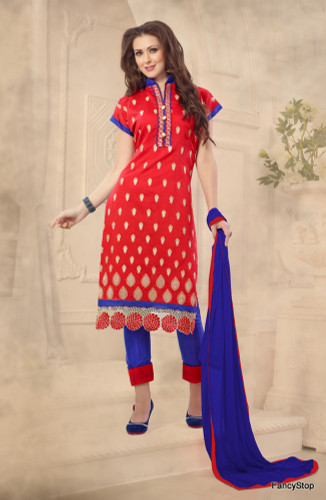 Beautifully Casual Red Color Chanderi Fabric Straight Cut Suit