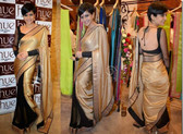 Contemporary Bollywood Style Saree Golden Black
