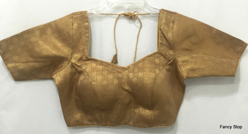 Designer Padded Saree Blouse Choli Copperish N Goldish Halfsleeves Ships From USA