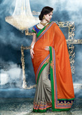 Premium Designer Saree with Classy Threadwork Orange and Dark Beige