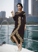 Vibrant & Trendy Chocolate Brown color Faux Georgette Kurti Dress
