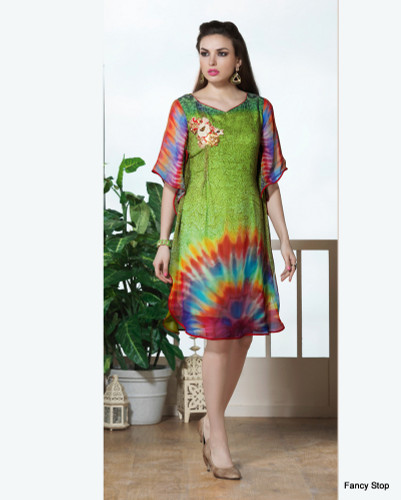 Beautifully Styled Green Color Faux Georgette Kurti