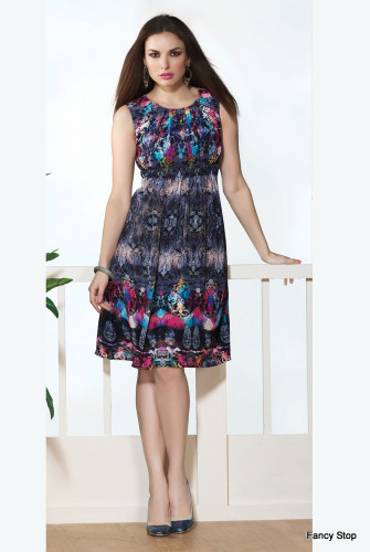 Beautifully Styled Black & Grey Color Faux Georgette Kurti