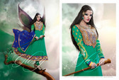 Premium Georgett Anarkali Suit Dark Green