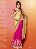 Vibrant Colorful Saree Yellow and Pink