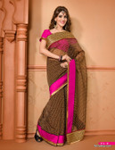 Vibrant Colorful Saree Black Gold Pink