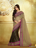 Premium Beige Color Embroidery Designer Work Georgette Saree