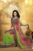 Premium Green Color Embroidery Designer Work Georgette Saree
