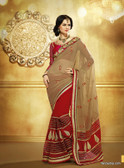 Vibrant Colorful Saree Dark Beige and Pink