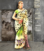 Stylish & Casual Off White Color Bhagalpuri Silk Saree