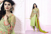 Lively & Classy Parrot Green Colored Silk Suit