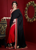 Dazzling Half and Half Designer Saree Red and Black