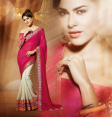Dazzling Half and Half Designer Saree Dark Pink and Beige
