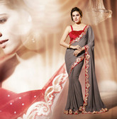 Premium Contemporary fashion color collection Saree Grey