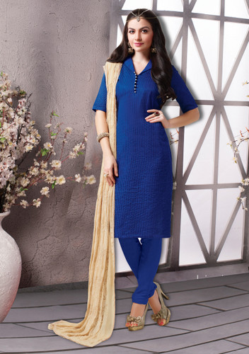 Enchanting & Lively Blue Colored Banarasi Chanderi Premium Suit