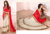 Delightfully Alluring Red Colored Chiffon & Net Saree