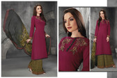 Stylish & Contemporary Maroon Colored Cambric Cotton Embroidered Suit