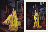 Graceful & Elegant Yellow & Cream Color Bamberg Georgette Saree