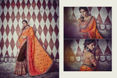 Graceful & Elegant Brown & Shaded Orange Color Georgette Saree