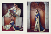 Graceful & Elegant Navy Blue & Off White Color Georgette Saree