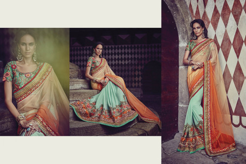 Graceful & Elegant Shaded Orange & Sky Blue Color Net & Bamberg Georgette Saree