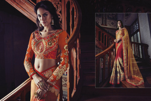 Graceful & Elegant Pink, Cream & Yellow Color Net & Viscose Georgette Saree
